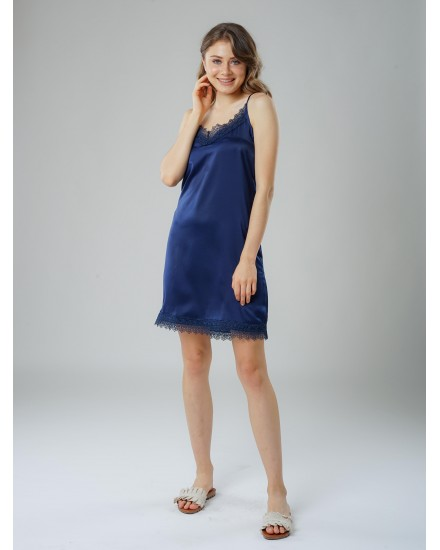 Royal silk navy dress