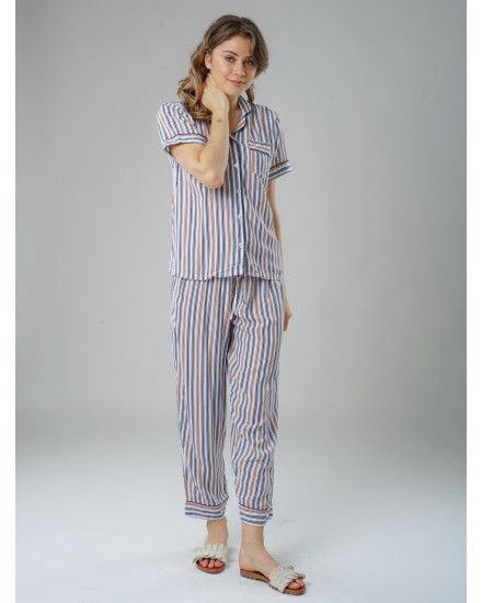Breton stripe long pants