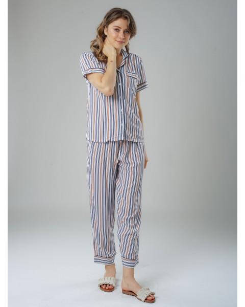 Breton stripe long pants