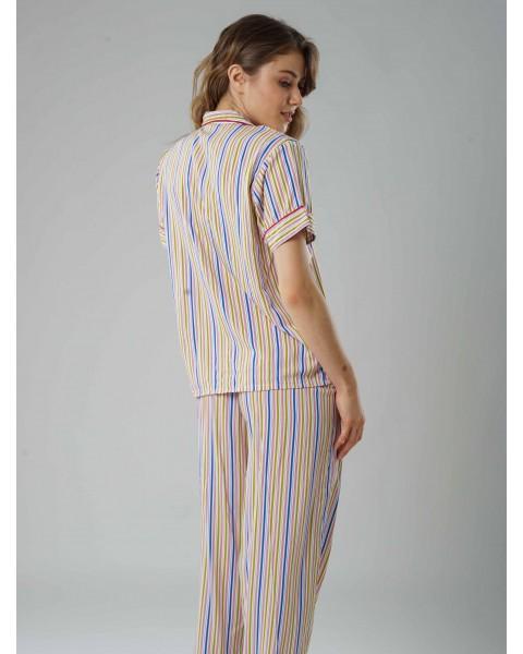 Chalk stripe long pants