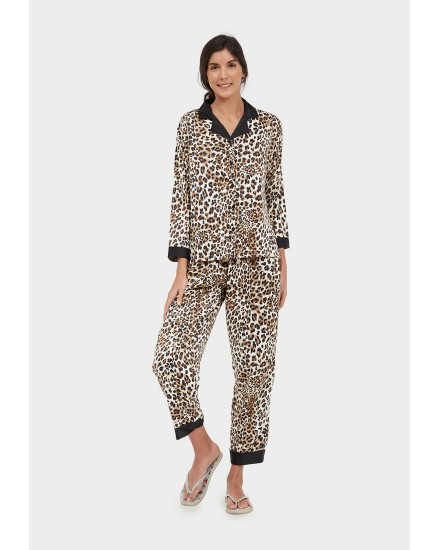 royal silk brown leopard pants