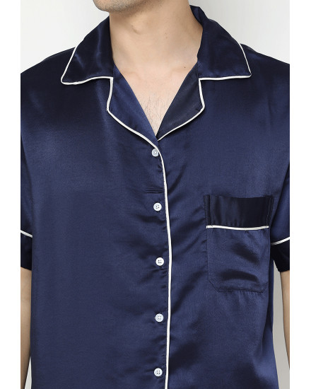 satin couple navy man