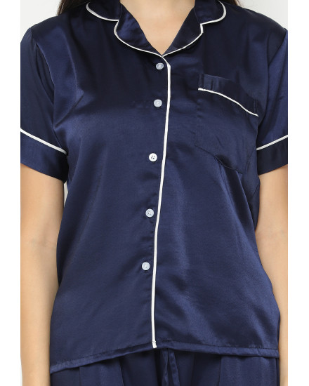 satin couple navy woman